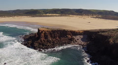 Aerial from Carrapateira rocks and ocean in Portugal Stock Footage