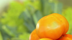 Oranges and cabbages at the market stand Stock Footage