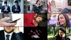 smartphone, mobile phone, people using smartphone - stock footage