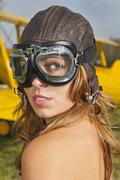 Model and WW1 Airplane - stock photo