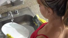 Woman Doing Chores And Washing Dishes At Home Stock Footage