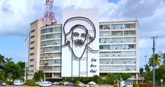 4K Fidel Castro monument, Revolution Square, Plaza de la Revolución, Havana Cuba Stock Footage