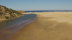Aerial from Carrapateira beach in the Algarve Portugal Stock Footage