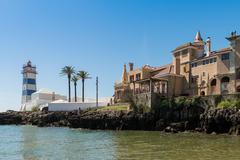 Santa Marta lighthouse and Municipal museum of Cascais - stock photo