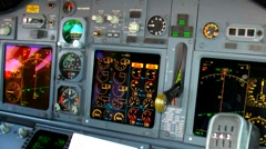 Close-up of the cockpit of a Boeing 737 commercial airliner. Stock Footage