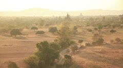 Ancient Buddhist temples Sunrise Bagan Stock Footage