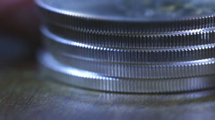 Silver coins coin up close Stock Footage