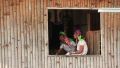 Padaung Woman Weave - stock footage