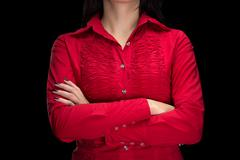 Photo of woman with arms crossed, faceless - stock photo