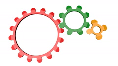 Seamless animation of rotation three multicolored gears Stock Footage