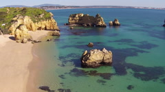 Aerial from natural rocks in Lagos Portugal Stock Footage