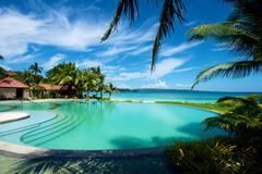 Swimming pool vacation resort on Boracay - stock photo
