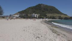 Mt Maunganui beach, New Zealand Stock Footage