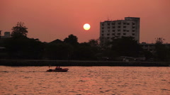 Sunset Chao Phraya Bangkok - stock footage