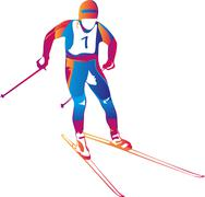 Stock Illustration of Vector illustration of a colorful skier