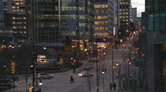 Stock Video Footage of Downtown Vancouver Cordova Street Waterfront Sunset