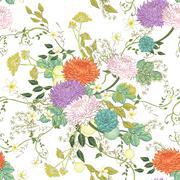 Stock Illustration of vintage ornate chrysanthemum seamless pattern