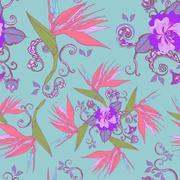Modern bird of paradise flowers seamless pattern Stock Illustration