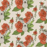 Elegant seamless pattern with deer antlers and roses Stock Illustration