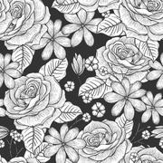 retro seamless hand drawn rose pattern - stock illustration