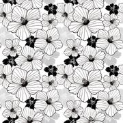 simplicity hibiscus seamless pattern - stock illustration