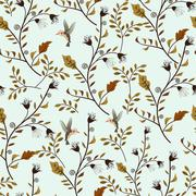colorful adorable seamless floral pattern - stock illustration