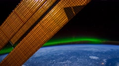ISS Aurora Borealis Canada Central To US, Time Lapse 4K FF 96fps - stock footage
