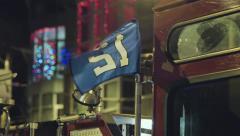 Seahawks Flag on Seattle Fire Truck Stock Footage