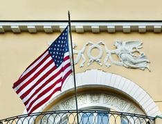 American flag at the residence of the U.S. in old building in Moscow Kuvituskuvat