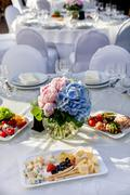 Stock Photo of Banquet round table for guests