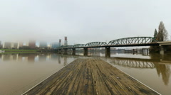 Time Lapse of Low Clouds and Fog Over City of Portland OR with Hawthorne Bridge Stock Footage