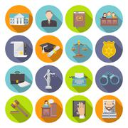 Law Icon Flat Stock Illustration
