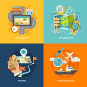 Navigation icons flat composition - stock illustration