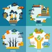 Pollution And Ecology Set Stock Illustration