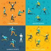 Stock Illustration of Disabled Sports Set