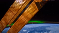 ISS  Aurora Borealis Canada Central To US, Time Lapse 4K Stock Footage