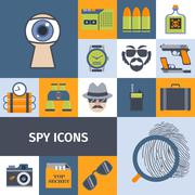 Spy gadgets flat icons composition poster Piirros