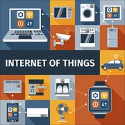 Internet of things flat icons composition Stock Illustration