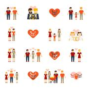 Non-traditional family icons set flat Stock Illustration