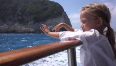 4K Portrait Child Girl Travelling in Ship Ferry Boat Lefkada Island Beach Greece Stock Footage