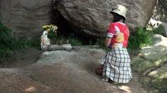 Asian Woman praying at the A-Ma Temple, Ma Kok Miu, Macau-Dan Stock Footage