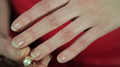 the girl dress ring closeup - stock footage