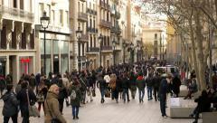 Barcelona Crowd  La Rambla Stock Footage