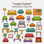 Vector  sweet home set Stock Illustration