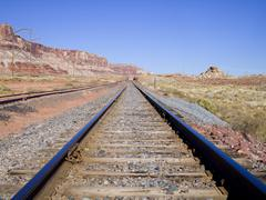 Traintracks with Red Canyon - stock photo