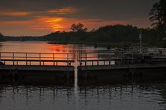 Sunset at the locks Stock Photos
