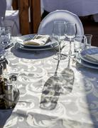 Banquet round table for guests - stock photo