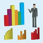 Businessman explaining business bar diagram Stock Photos