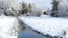 Riverside winter landscape at Houtskari island, Finland Stock Footage