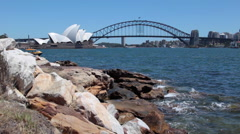 SYDNEY HARBOR BRIDGE OPERA HOUSE Stock Footage